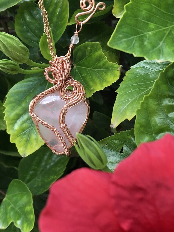 Rose Quartz Cabochon Wire Wrapped Pendant In Non Tarnish Copper