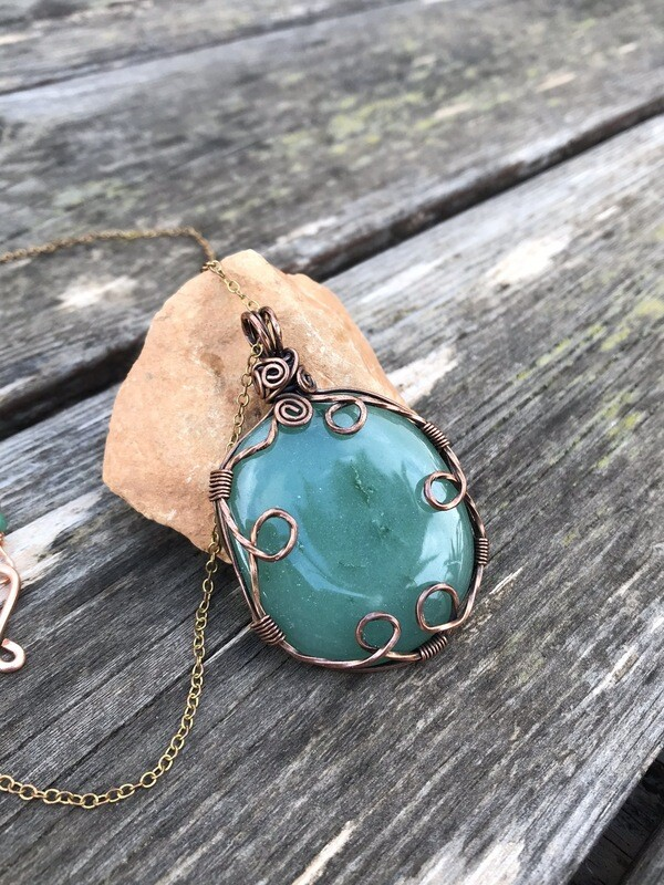 Aventurine Wire Wrapped Tarnished Copper Pendant