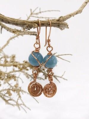 Blue Quartz Spiral Long Earrings