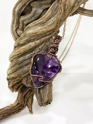 Amethyst Pendant Wire Wrapped In Tarnished Copper