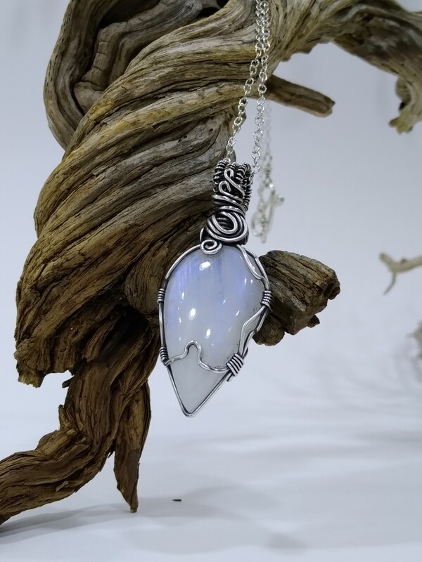 Rainbow Moonstone Tear Drop Sterling Silver Wire Wrapped Pendant