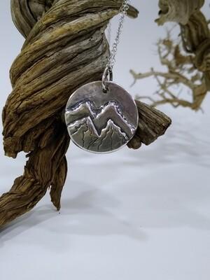 """Alps"" Sterling Silver 925 handmade mountain pendant"