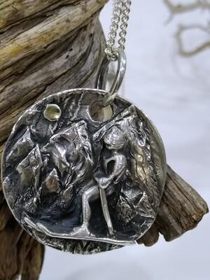 """The skier"" Pure 999 silver handmade pendant"