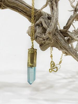 9mm Luger Brass Bullet Casing Blue Quartz Pendant