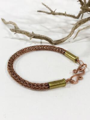 Copper Handmade Bracelet With 9mm Brass Bullet Casing .