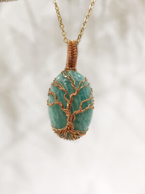 Amazonite Tree Of Life Handmade Pendant