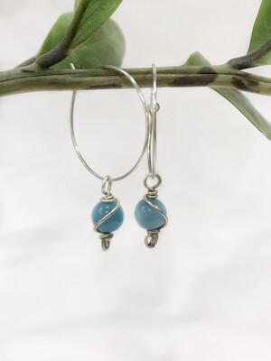 Hoop Sterling Silver Earrings With Gemstone Charms