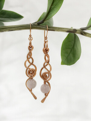 Long Earrings With Spiral And Rose Quartz In Non Tarnish Copper