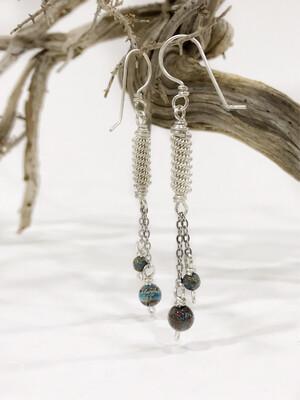 Long Jasper Wire Wrapped Earrings