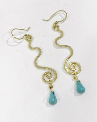 Brass Long Turquoise Spiral Dangly Earrings