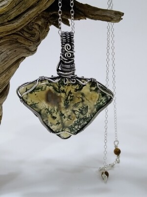 Moss Agate Gemstone Sterling Silver Wire Wrapped Pendant