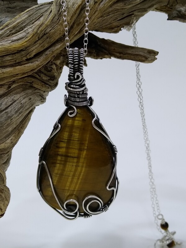 Tiger eye sterling silver wire wrapped pendant