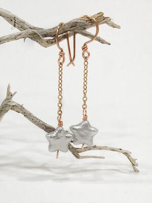 Star Mother Of Pearl Long Dangle Copper Earrings