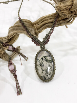 Macrame Moss Agate Necklace Metal Free