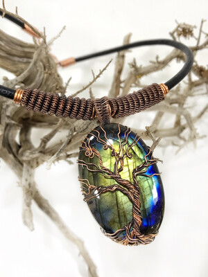 Tree Of Life Labradorite Leather Copper Wire wrapped Necklace