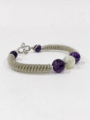 Sterling Silver Bracelet Handmade Wire Wrapped With Amethyst And Mother Of Pearl