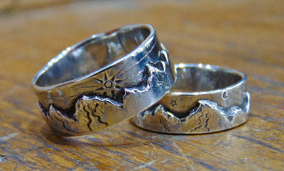 His & hers Wedding bands 925 silver Handmade mountains rings