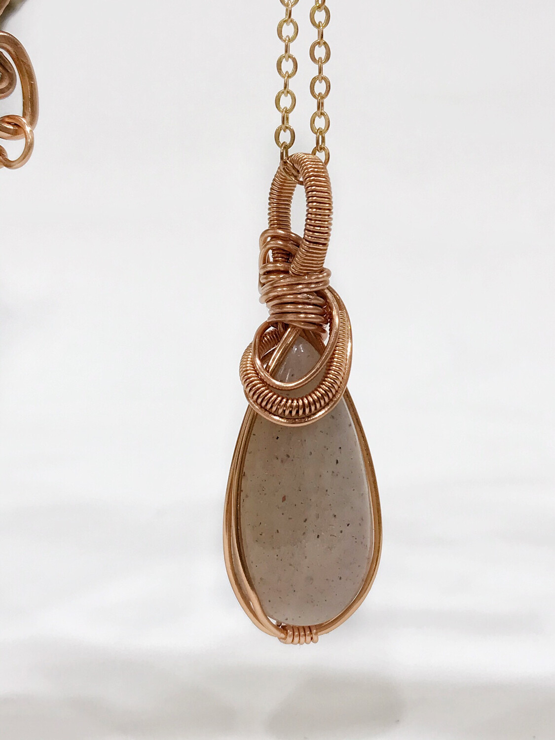 Pink Moonstone Handmade Wire Wrapped Pendant
