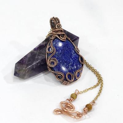 Lapis Lazuli Spiral Copper Necklace