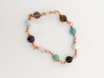 Multi Gemstone Handmade Non Tarnish Copper Bracelet
