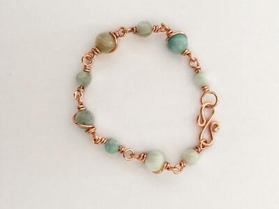 Amazonite Gemstone Handmade Non-Tarnish Copper Bracelet