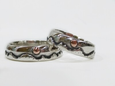 Handmade Mountain 925 Sterling Silver Wedding Bands