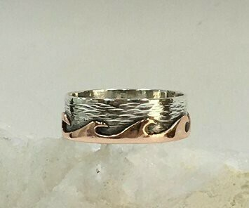 His & Hers waves rings handmade copper on silver 925