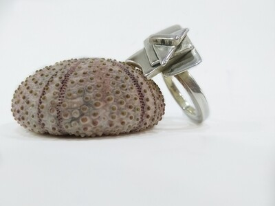 """""""Space shuttle"""" abstract art 925 Sterling silver ring"""