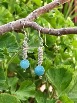 Long Silver Earrings Wire Wrapped Blue Quartz Silver Filled