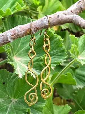 Brass Long Spiral Earrings