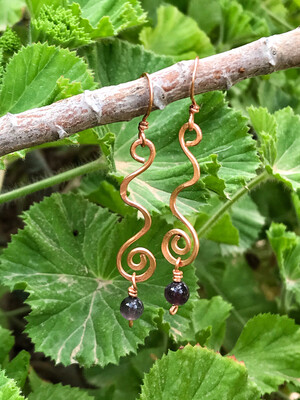 Long Spiral Amethyst Earrings