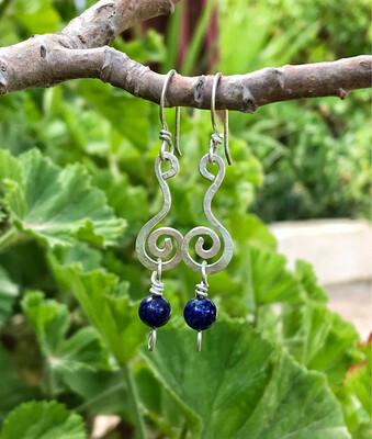 Spiral Long Sterling Silver Lapis Lazuli Earrings
