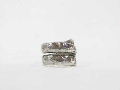 Large snake like sterling silver ring hammered