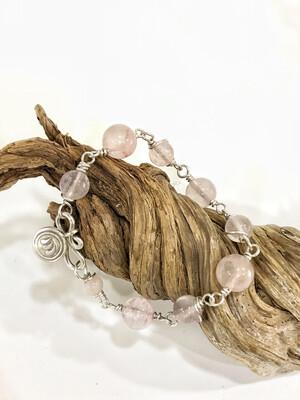 Rose Quartz Sterling Silver Handmade Bracelet