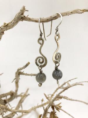 Long Dangle Labradorite Sterling Silver Spiral Earrings
