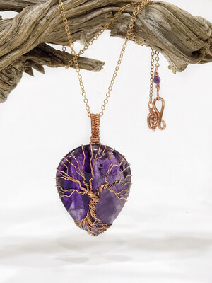 Amethyst Tree Of Life In Non-Tarnish Copper Wire Wrapped Pendant