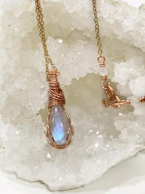 Rainbow Moonstone Copper Pendant