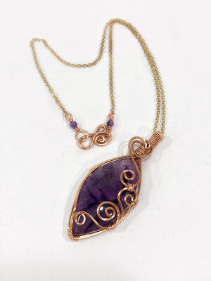 Amethyst Cabochon Wire Wrapped In Copper