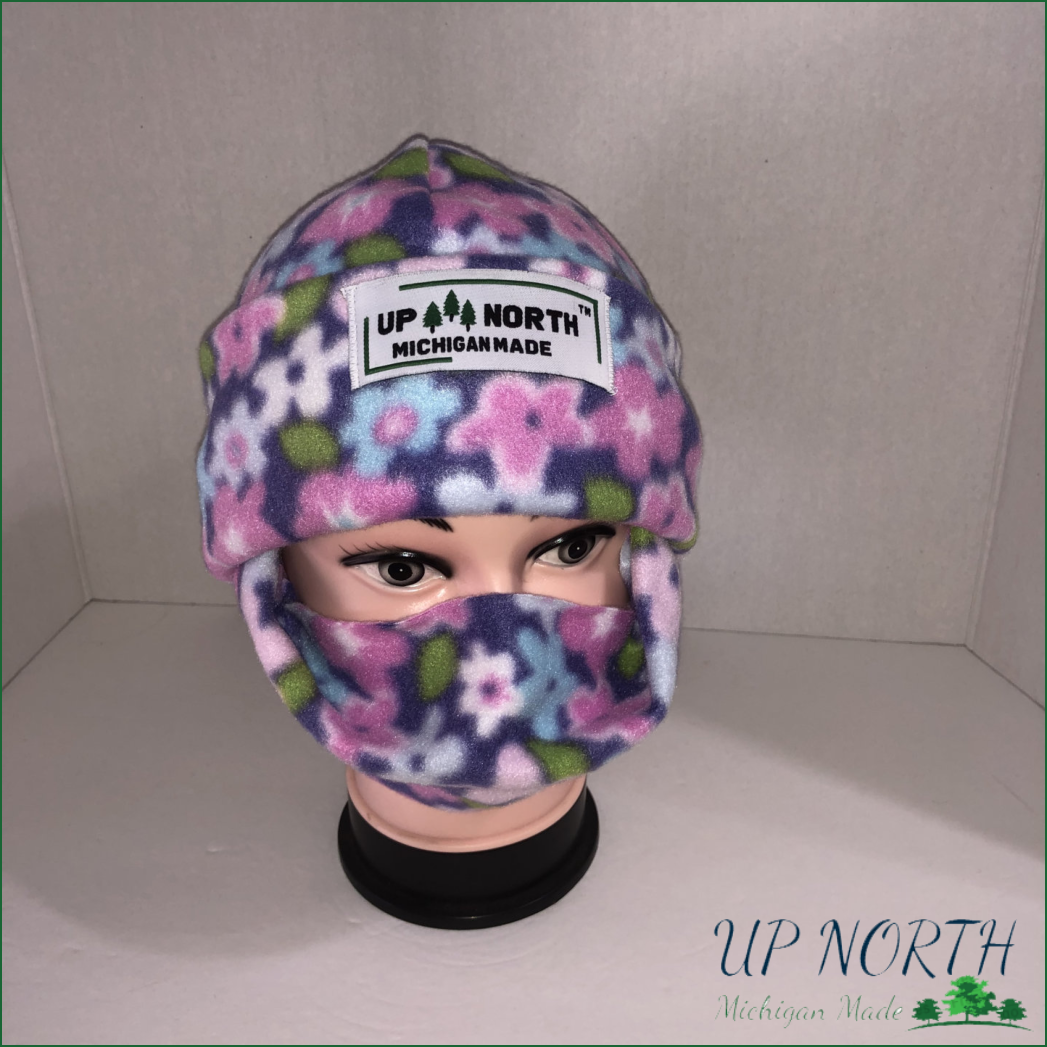 Purple Flower Winter Hat with Face Cover
