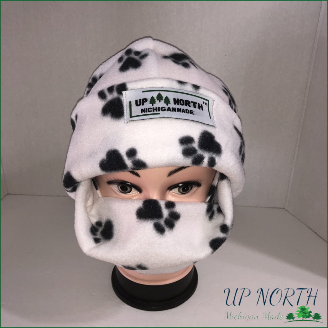 Paw Prints Winter Hat with Face Cover