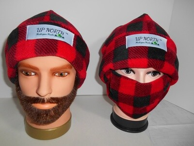 Red Buffalo Plaid Double Domes Winter Hat with Face Cover