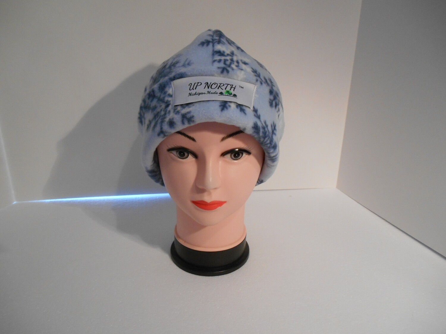 Light Blue Snowflake Winter Hat with Face Cover