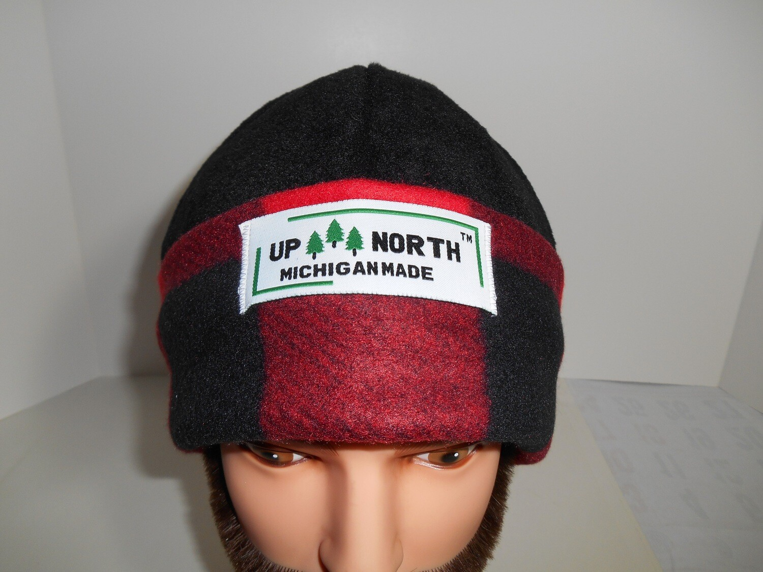 Large Red Plaid with Black Dome Winter Hat with Face Cover