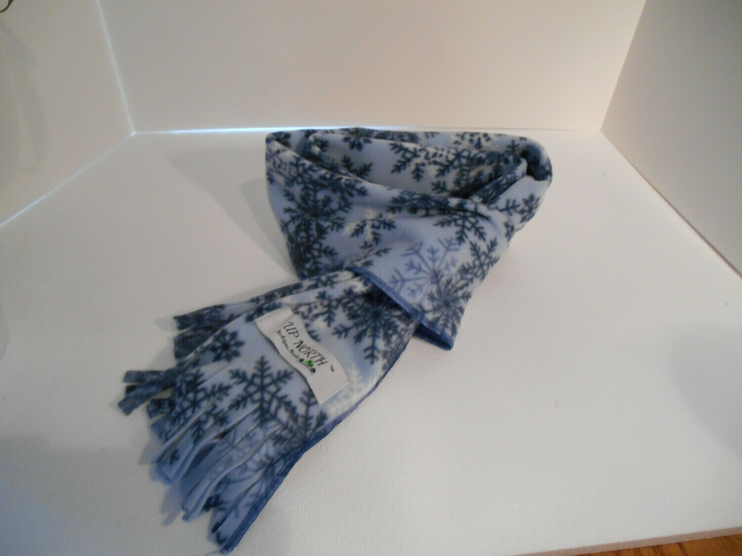 Light Blue Snowflake Winter Scarf
