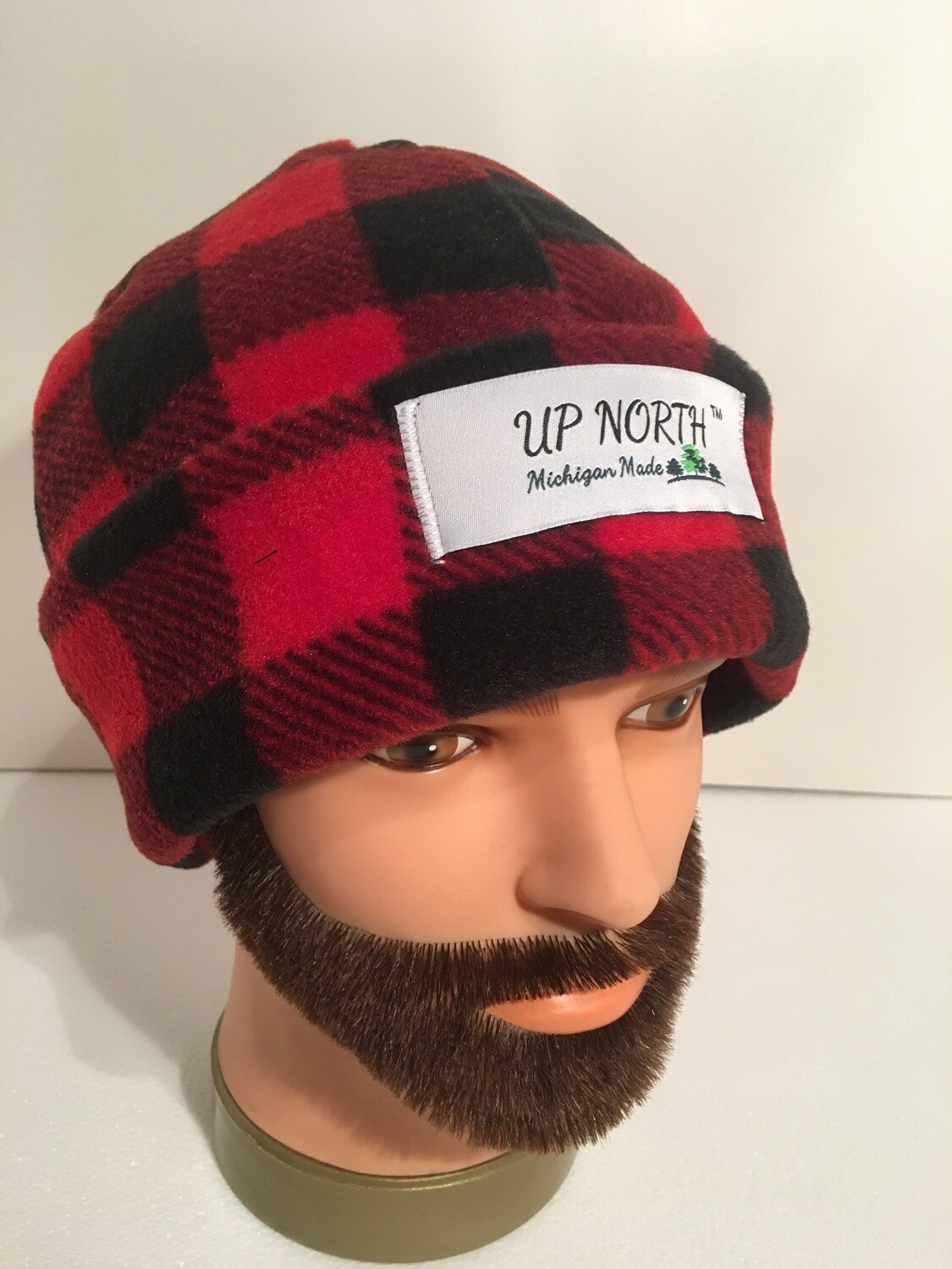Red Buffalo Plaid Winter Hat with Face Cover