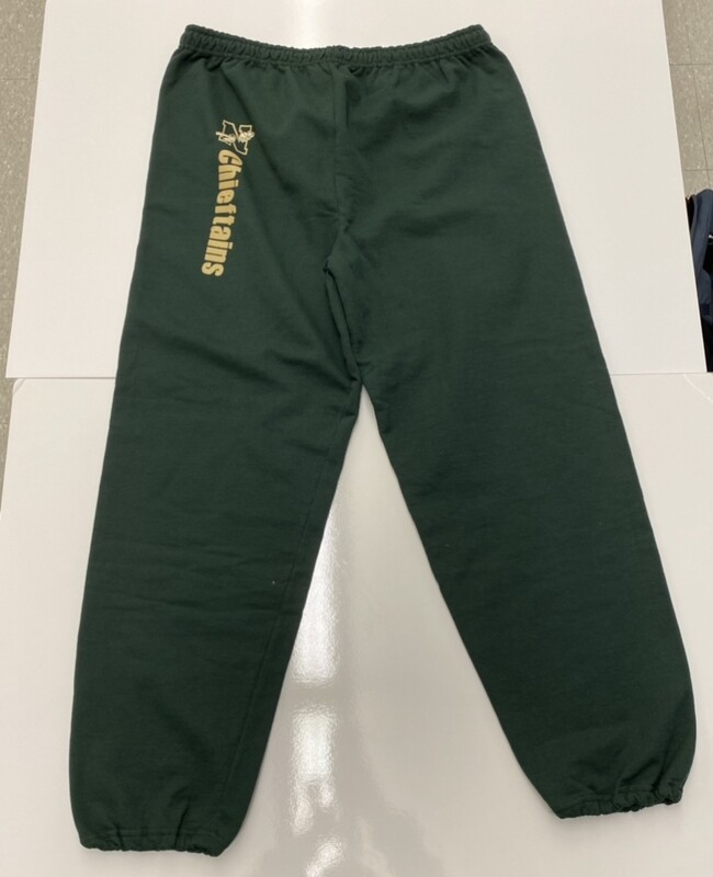 Green Sweatpants with Gold Lettering