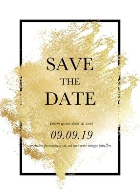 Digital file Golden Broken Gold Foil Wedding Invitation