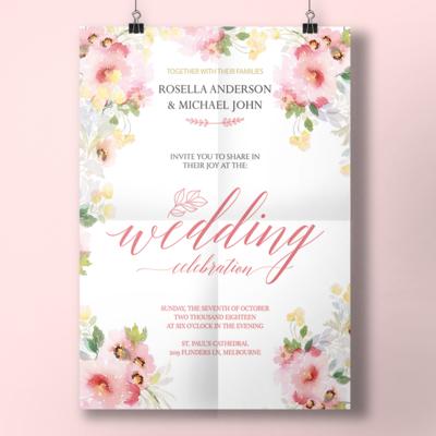 Digital file Watercolor Spring Wedding Invitation Wedding Menu