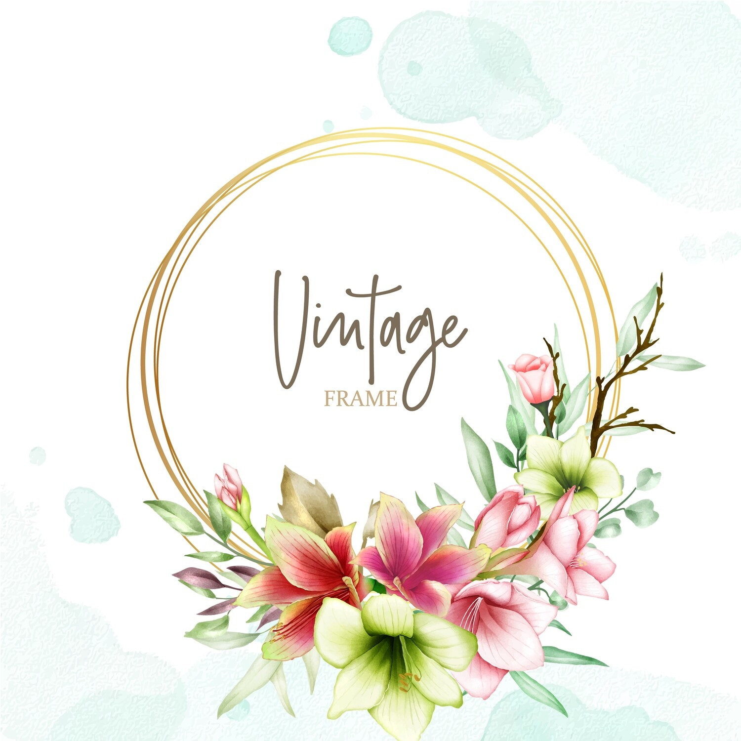 Wedding Invitation Template With Watercolor Amaryllis