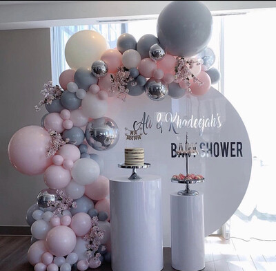 132 Pastel Baby Pink Gray White Macaron Balloon Garland Arch Wedding Baby Shower Party Backdrop Tape Wall Balloons Decor